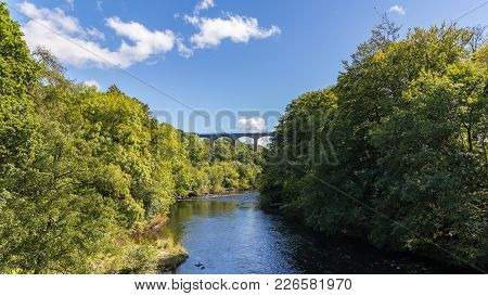 View From Gate Rd With The River Dee And The Pontcysyllte Aqueduct, Wrexham, Wales, Uk