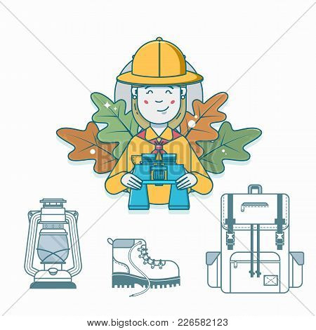 Scout Holding Binoculars. Travel Accessories Hiking Backpack, Boots, Lantern.outline Vector Illustra