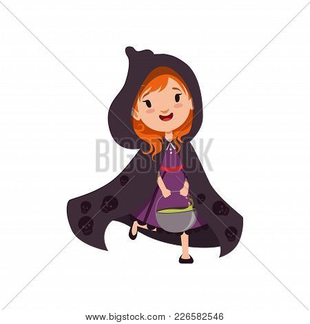 Cute Little Red-haired Girl Witch Walking In Black Cloak With A Hood Decorated With Silhouettes Of S