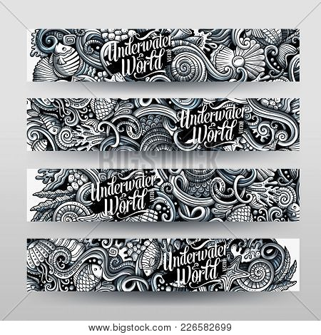 Cartoon Graphics Vector Hand Drawn Doodles Sealife Corporate Identity. 4 Horizontal Banners Design.