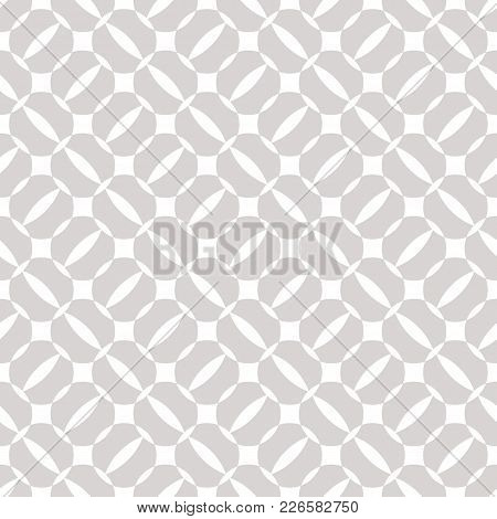 Silver Geometric Seamless Pattern. Simple Texture With Circles, Rounded Shapes, Grid, Lattice. Abstr