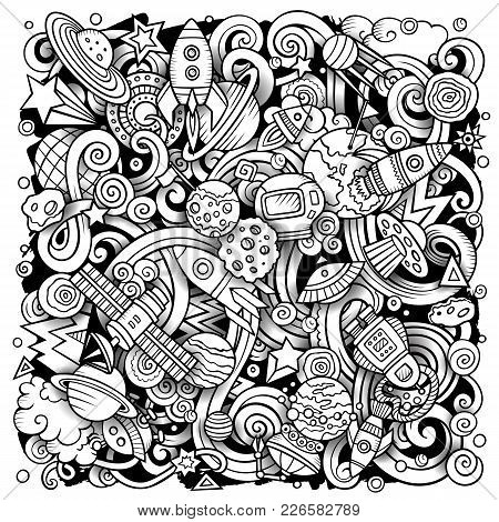 Cartoon Vector Doodles Space Illustration. Line Art, Detailed, With Lots Of Objects Background. All