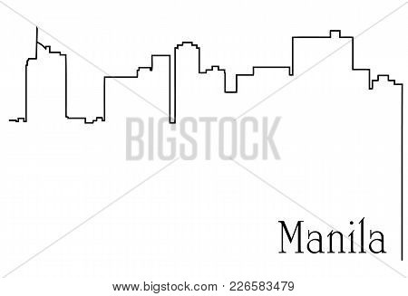 Manila city one line drawing abstract background with  metropolis cityscape - vector illustration poster