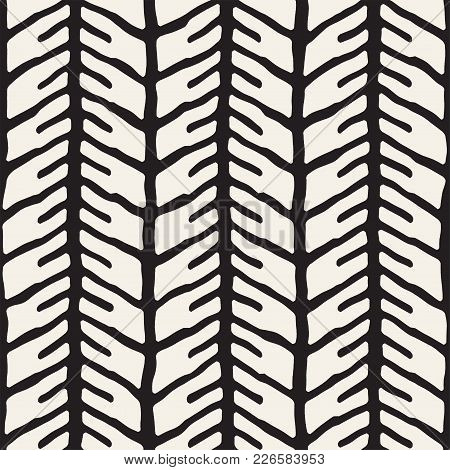 Simple Ink Geometric Pattern. Monochrome Black And White Strokes Background. Hand Drawn Ink Brushed