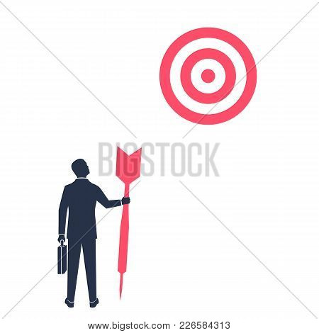 Purposeful Businessman With Spear In Hand Looks At Target. Purpose Business Concept. Achievement Of