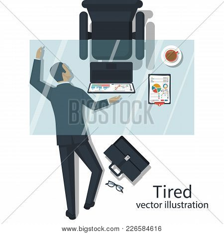 Tired Concept. Overworked Businessman Sleeps On Floor Under The Table. Vector Illustration Flat Desi