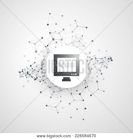 Abstract Cloud Computing And Global Network Connections Concept Design With Desktop Computer Monitor