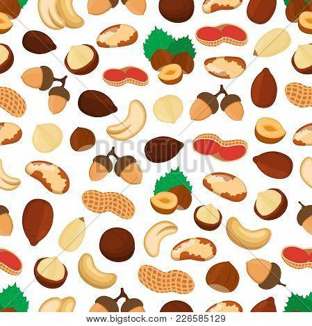 Vector Seamless Pattern Of Different Nuts. Cashew, Almond, Hazelnut, Walnut, Macadamia, Acorn. Made