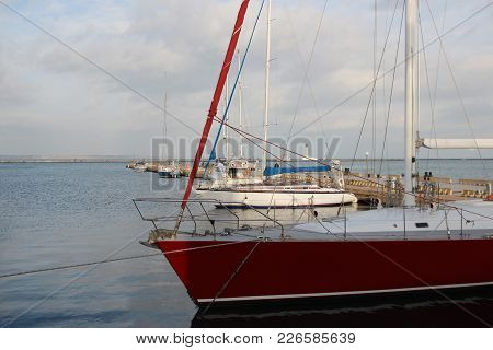 Small Private Yachts Pier In Winter Pier With Rows Of Small Private Yachts