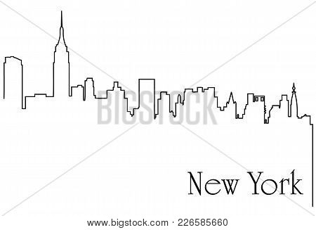 New York city one line drawing abstract background with  metropolis cityscape - vector illustration poster