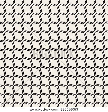 Trendy Monochrome Wavy Lines Design. Vector Geometric Seamless Pattern