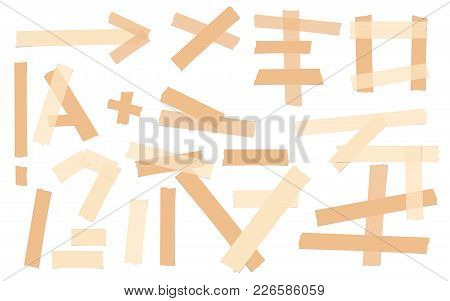 Brown Adhesive, Sticky, Masking, Duct Tape, Paper Pieces For Text Are Isolated On White Background