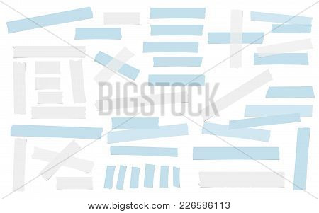 White And Blue Adhesive, Sticky, Masking, Duct Tape, Paper Pieces For Text Are Isolated On White Bac