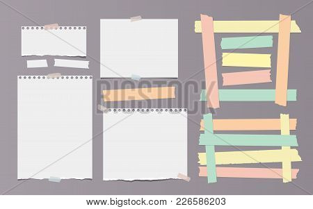 Colorful Adhesive, Sticky, Masking, Duct Tape Pieces And Blank Note, Notebook Torn Paper For Text Ar