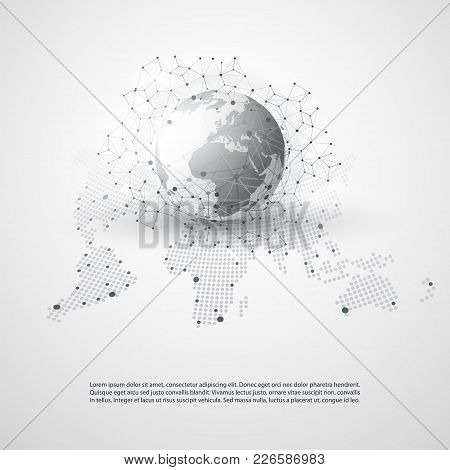 Cloud Computing And Networks With World Map - Abstract Global Digital Network Connections, Technolog