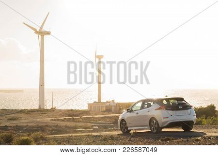 Canary Islands, Spain, Tenerife 16 January 2018: New Model Of Nissan Leaf Electric Car At Environmen