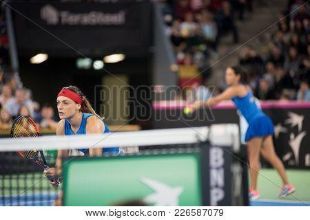 Cluj Napoca, Romania - February 11, 2018: Tennis Players Ana Bogdan And Raluca Olaru (romania) Playi