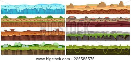 Seamless Cartoon Vector Landscape Floor Elements Set. Ground Floor Collection For Game Interface Des