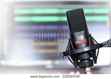 Studio Microphone With A Podcast Icon