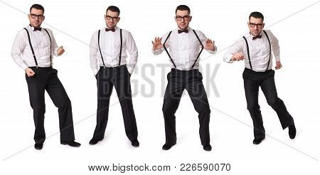 Handsome Guy With Suspenders And Bow Tie