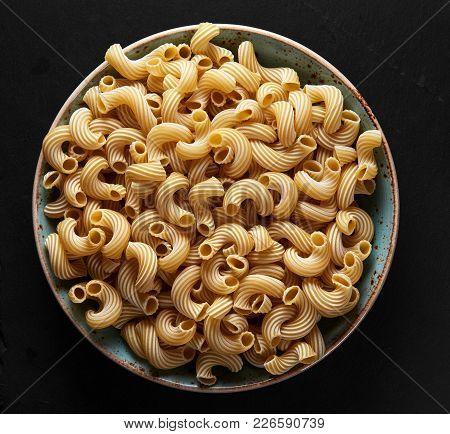 Dry Italian Cavatappi Pasta On In Plate