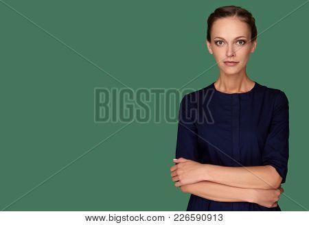 Caucasian Beautiful Woman Looking In Camera
