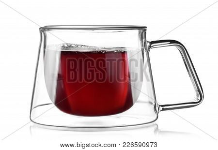 Glass Cup Of Tea Isolated On White