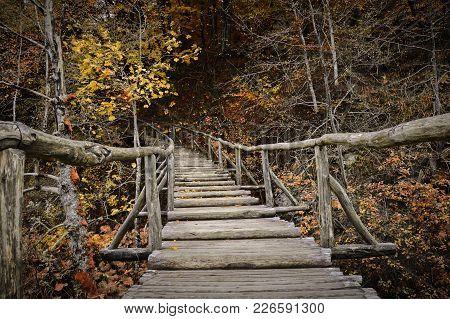 The Wooden Bridge To Autumn In Eastern Europe