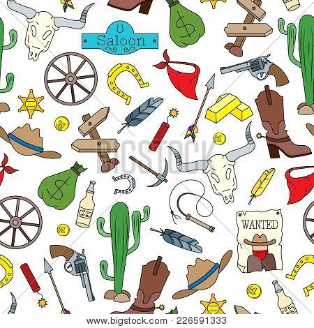 Seamless Pattern On The Theme Of The Wild West, Colored Cartoon Icons On White Background