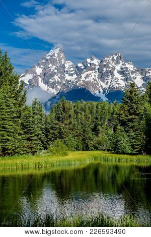 Grand Teton Mountains from Schwabacher's Landing on the Snake River at morning. Grand Teton National Park, Wyoming, USA.