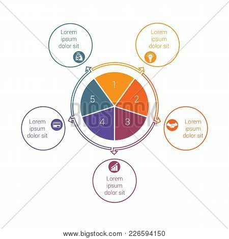 Template For Info Grapchics Diagram 5 Cyclic Processes, Step By Step, Colorful Circles In A Circle,