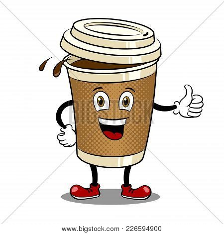 Cartoon Coffee Cup With Thumb Up Gesture Pop Art Retro Vector Illustration. Cartoon Character. Isola