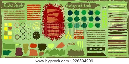 Grunge Big Set Of Spots Paint, Ink Brush Strokes, Brushes, Lines. Dirty Artistic Design Elements, Bo