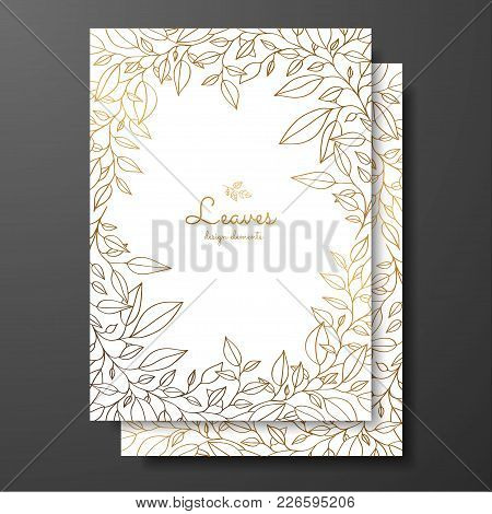 save the date card wedding invitation template design template with wreath of leaves gold card template for greeting card postcard thank you card menu