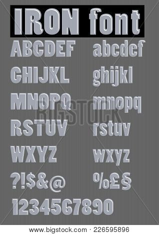 Alphabet Set In Embossed Iron Design, Metallic Letters, Numbers And Other Characters, Question Mark,