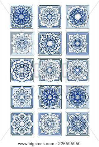 Gorgeous Azulejo Tile Set, Classic Portuguese Vintage Design, Rich Ornamental Decor, Vector Eps 10
