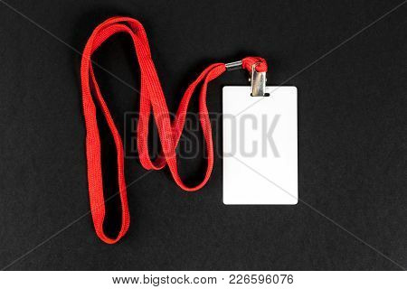Empty Card Id / Icon With An Orange Belt On A Black Background. Space For Text