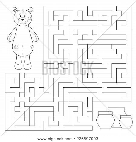 Vector Educational Maze Game For Kids. Help Teddy Bear Find Honey Pots. Coloring Page Or Book. Print