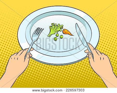Healthy Food On Plate Pop Art Retro Vector Illustration. Diet Starvation. Color Background. Comic Bo