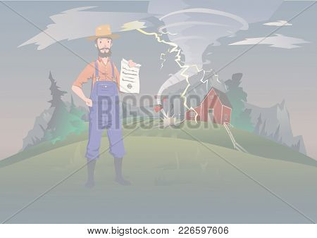 Farmer's Insurance Concept, Vector Illustration. Tornado On The Farm. A Calm Farmer Stands And Holds