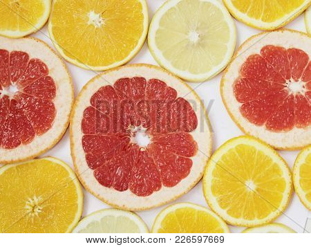 Citrus Pattern Of Orange And Grapefruit Slices. Colored Citrus Pattern