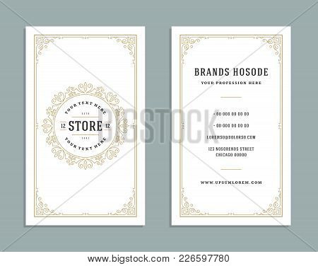 Business Card Vintage Ornament Style And Luxury Logo Vector Template. Retro Elegant Flourishes Ornam
