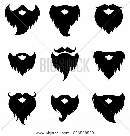 Set Of Beard And Moustache Silhouettes Isolated On White Background. Vector Illustration