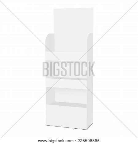 Floor showcase display with shelves - half side view. Vector illustration