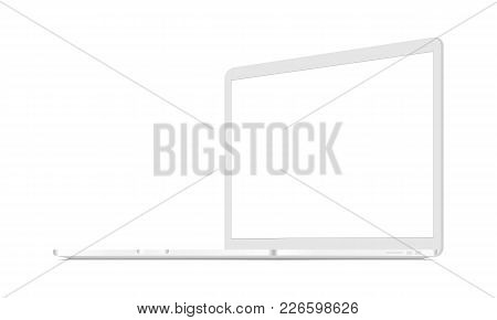 White laptop mockup - right view. Responsive screen to display web-site design. Vector illustration