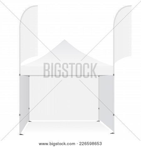 Promotional outdoor pop up canopy tent with flags banners isolated on white background. Blank advertising mockups for design or branding. Vector illustration