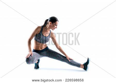 Beautiful Attractive Sportive Athletic Cute Happy Smiling Cheerful Sportswoman Stretching Her Legs B