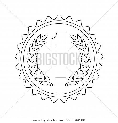 Outline Medal For The First Place. Achievement Concept. Signs And Symbols Of Success, Victory In Com