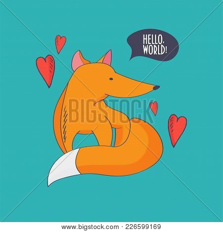 Vector Illustration For Kids: Fox Pup Or Cub And Love Heart Symbols.