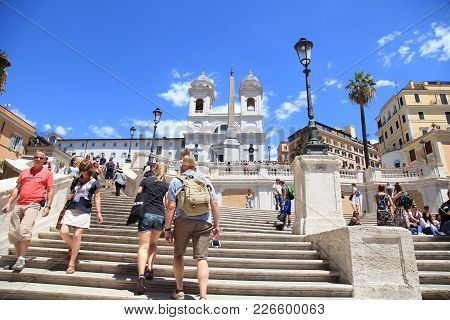 Rome, Italy - July 16, 2017: Tourists In Piazza Di Spagna, On The Spanish Steps (scalinata Di Trinit